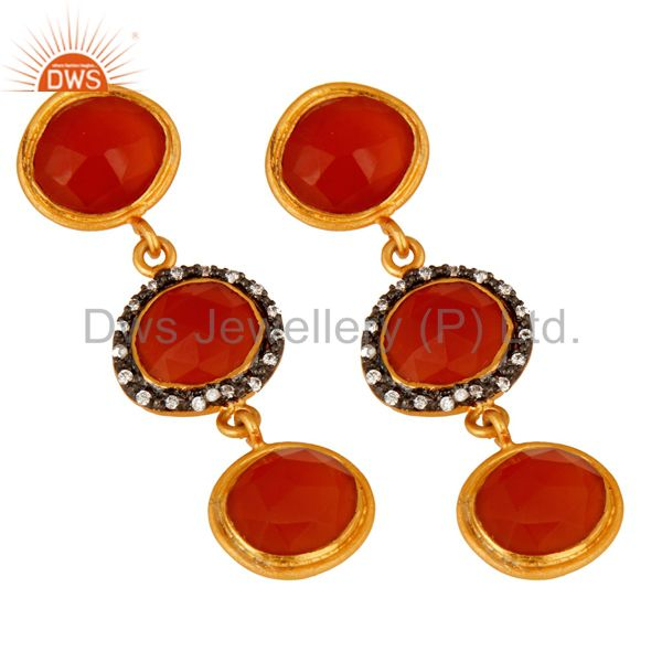 Exporter 925 Sterling Silver Carnelian Gemstone Dangle Earrings With Yellow Gold Plated