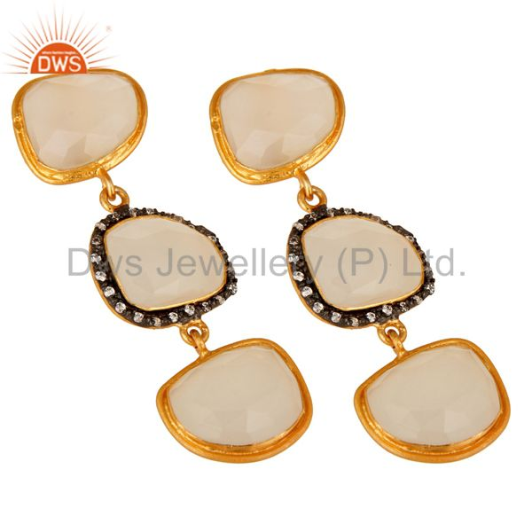 Exporter White Chalcedony 18K Yellow Plated Sterling Silver Dangle Earrings With CZ