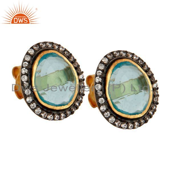 Exporter Attractive!! Synthetic Blue Topaz Gemstone Gold Plated 925 Silver Stud Earrings