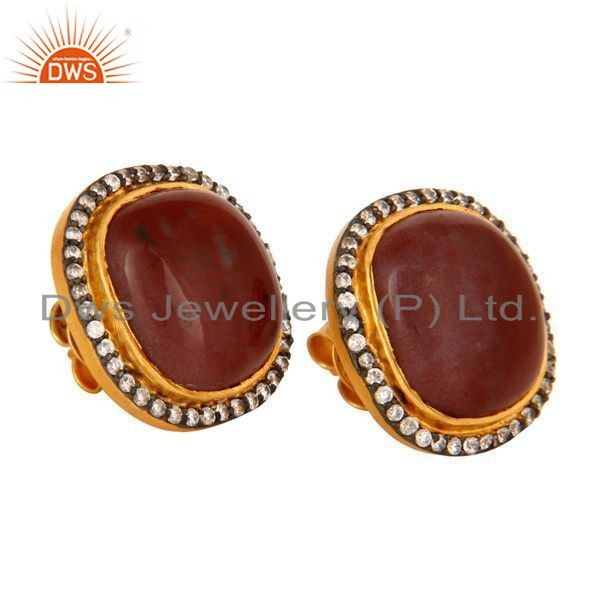 Exporter Sterling Silver With GoldPlated Natural Red Agate Gemstone Stud Earrings With CZ