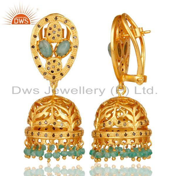 Exporter Emerald and Diamond 18K Gold Plated Sterling Silver Jhumki Earring