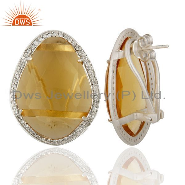 Exporter Citrine Hydro Gemstone With Cz 925 Sterling Silver Stud  Earring