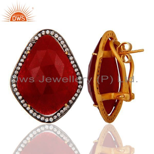 Exporter Natural Red Aventurine Gemstone & CZ Sterling Silver Gold Plated Clip On Earring