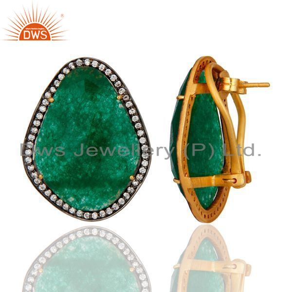 Exporter 18K Yellow Gold Plated Sterling Silver Green Aventurine Stud Earrings With CZ