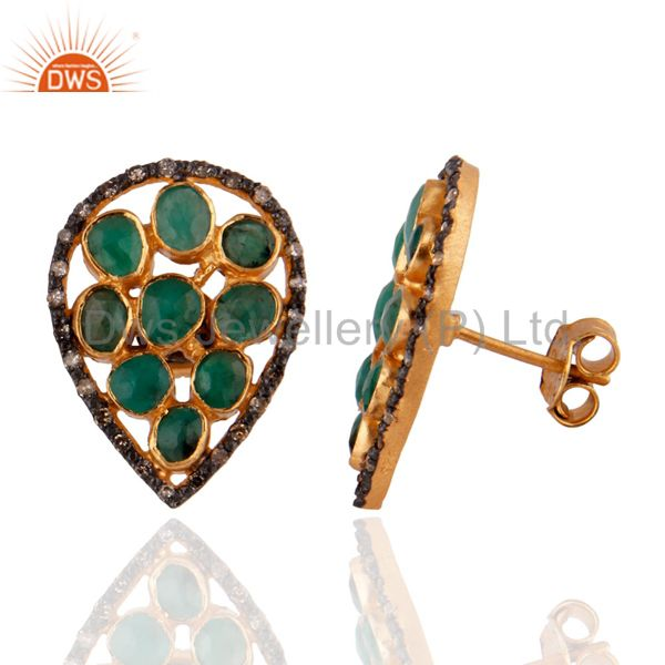 Exporter 18K Gold GP 925 Sterling Silver Emerald Pave Setting Diamond Stud Earring Jewelr