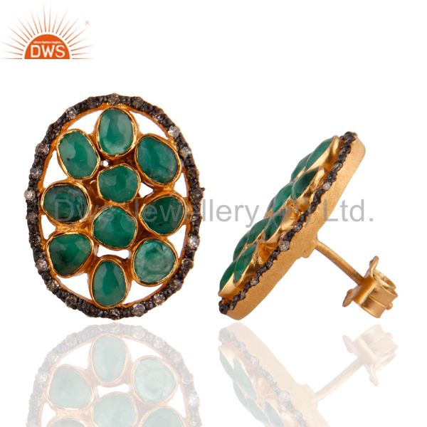 Exporter 14K Gold GP 3.770 ct Emerald Diamond Pave 925 Sterling Silver Oval Stud Earrings