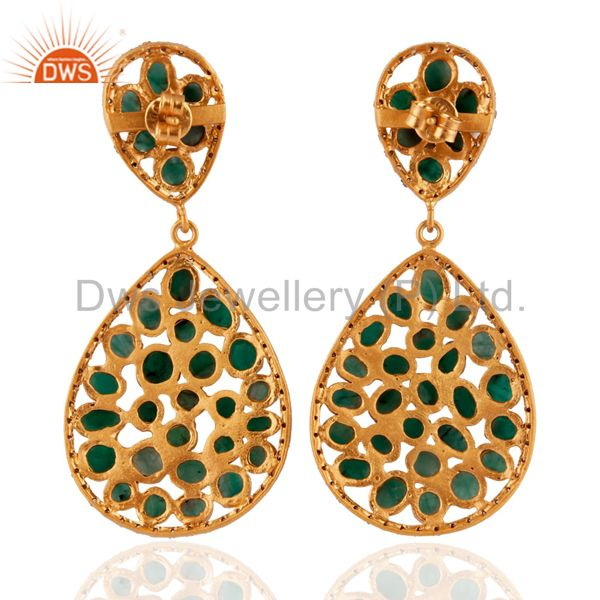 Exporter Emerald Pave Diamond Gold Plated 925 Sterling Silver Designer Dangle Earrings