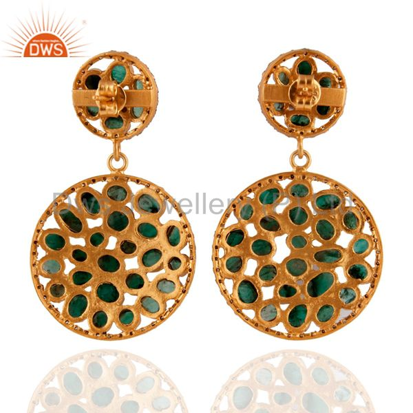 Exporter Emerald 18k Gold Plated Diamond Pave Dangle Earrings Sterling Silver Fine Jewelr