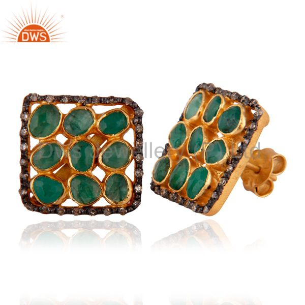 Exporter Natural Diamond Rough Slice Emerald Stud Earrings 18k Gold GP 925 Silver Jewelry