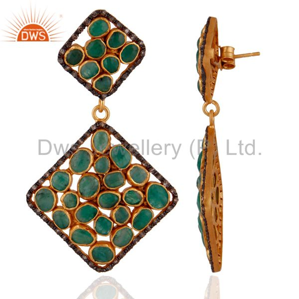 Exporter Sterling SIlver Emerald Gemstone Slice Pave Diamond Dangle Earrings 18K Gold GP