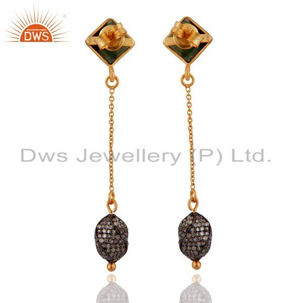 Exporter 18K Gold Over Sterling Silver Pave Diamond Bead And Tourmaline Dangle Earrings
