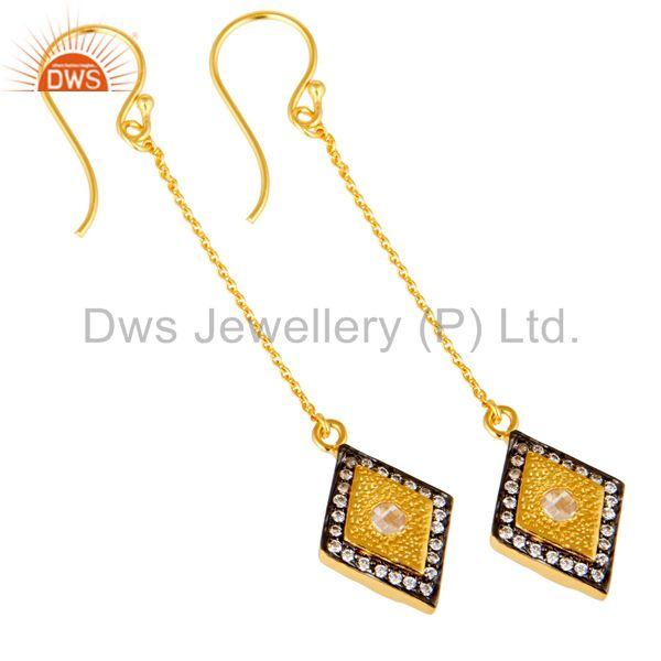 Exporter 14K Yellow Gold Plated Sterling Silver Cubic Zirconia Chain Dangle Earrings
