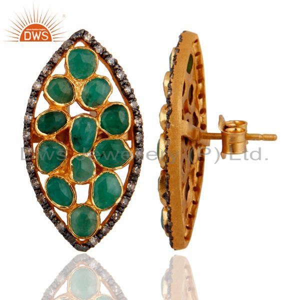 Exporter 925 Sterling Silver Pave Diamond Natural Emerald Raw Gemstone Post Stud Earrings