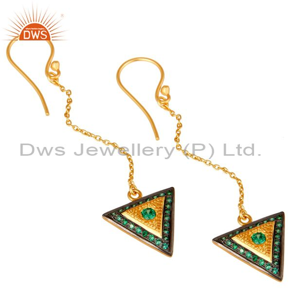 Exporter 18K Gold Plated 925 Sterling Silver Handmade Green Zirconia Link Chain Earrings
