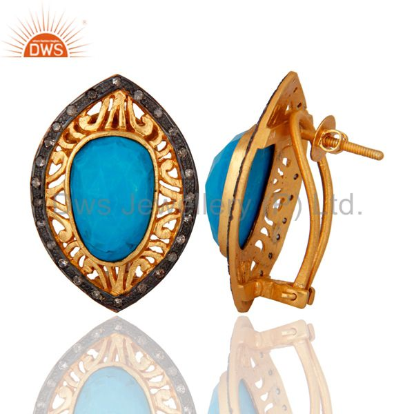 Exporter Victorian Style Pave Diamond 925 Sterling Silver Turquoise Gemstone Stud Earring