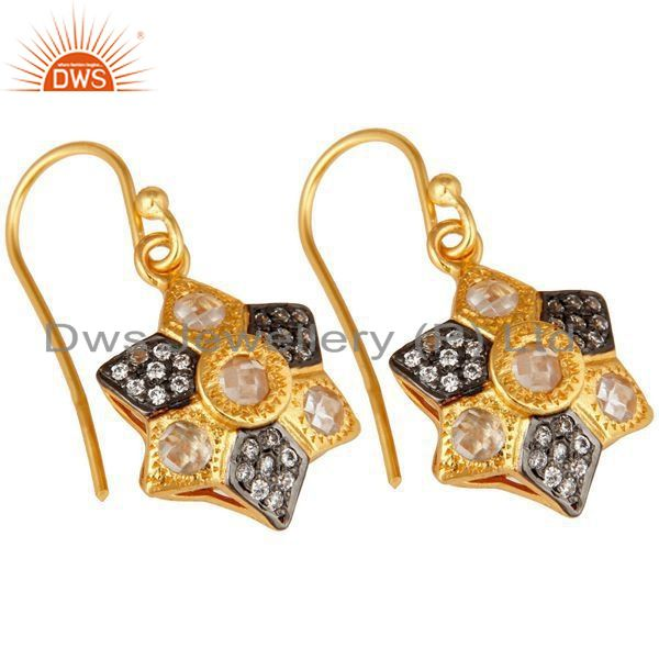 Exporter 14K Yellow Gold Plated Sterling Silver Cubic Zirconia Designer Drop Earrings
