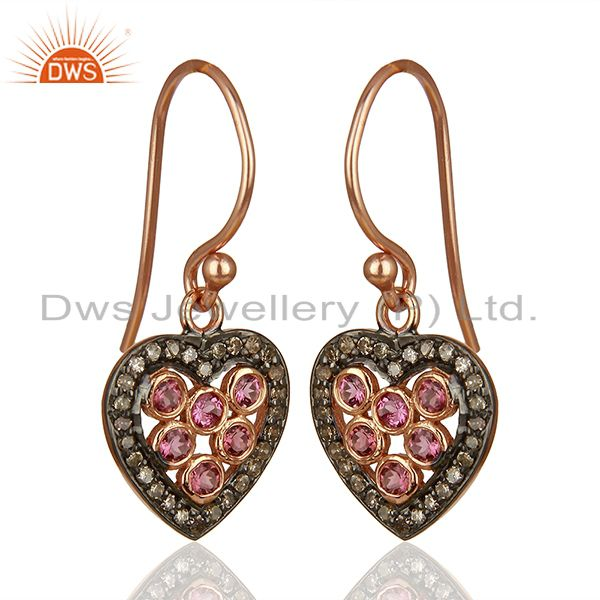 Exporter Heart Design 925 Silver Pave Diamond Gift for Her Earrings Wholesale
