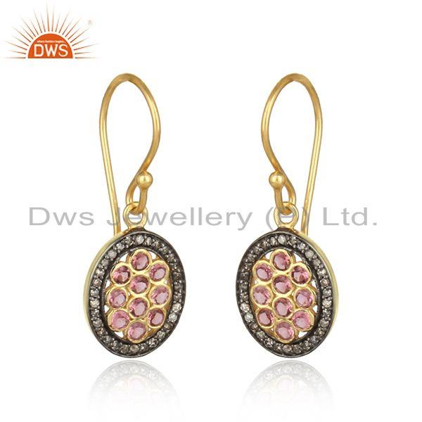 Pave diamond pink tourmailne designer dangle in yellow gold on silver