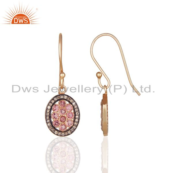 Exporter Pave Diamond and Pink Tourmailne Gemstone Drop Earrings Manufacturer