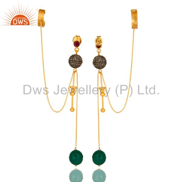 Exporter 18K Yellow Gold Plated Silver Pave Set Diamond And Green Onyx Ear Cuff Earrings