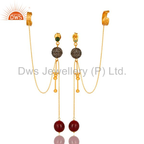 Exporter 18K Yellow Gold And Sterling Silver Ruby And Pave Diamond Chain Ear Cuff Earring