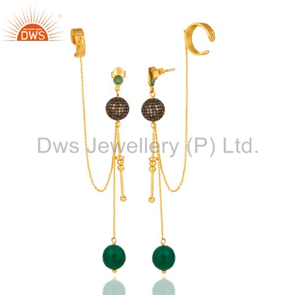 Exporter 18K Gold On Sterling Silver Emerald Diamond Pave Bridal Fashion Ear Cuff Earring