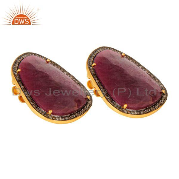 Exporter Ruby Pave Diamond 18K Gold Over 925 Sterling Silver Stud Earring New Arrival