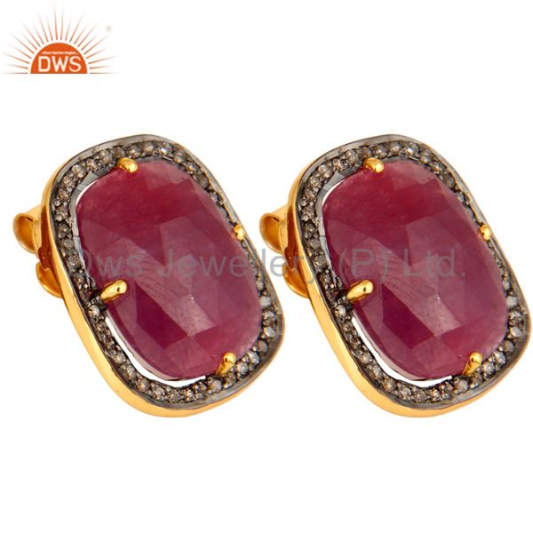Exporter Pave Set Diamond Ruby Gemstone Stud Earring In 18K Gold Over Sterling Silver 925