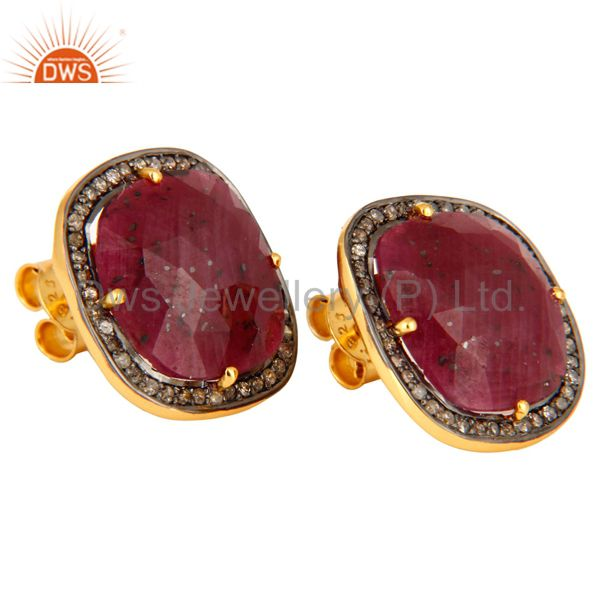 Exporter 925 Sterling Silver Ruby Gemstone Stud Earring With Pave Set Diamond Jewelry