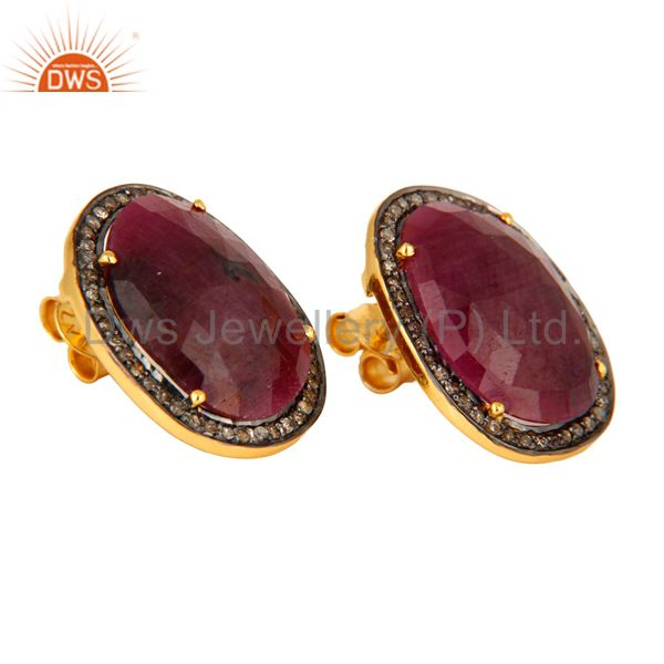 Exporter Glamorous Pave Diamond Sterling Silver Stud Earrings With Ruby Gemstone Jewelry
