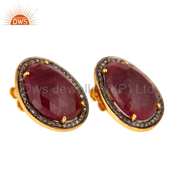 Exporter Unique Genuine Ruby Gemstone 925 Sterling Silver Diamond Accent Stud Earrings