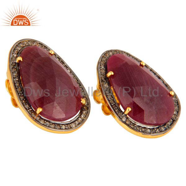 Exporter 925 Sterling Silver Pave Diamond Natural Ruby Gemstone 4 Prong Set Studs Earring