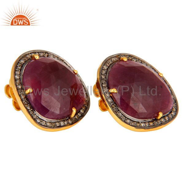 Exporter 18K Gold Plated Sterling Silver Ruby Gemstone Stud Earrings With Pave Diamond
