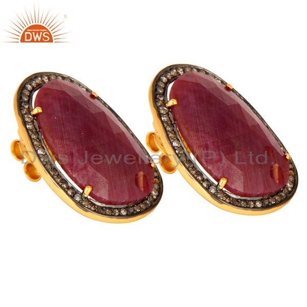 Exporter Natural Ruby Diamond Pave Sterling Silver Bridal Fashion Stud Earrings Jewelry