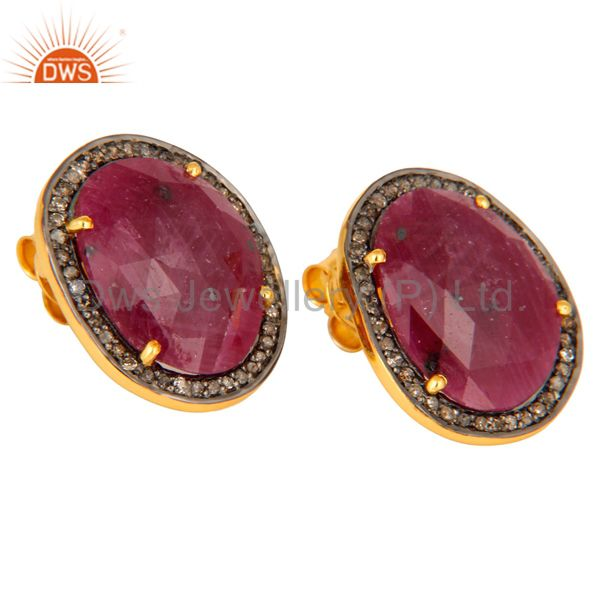 Exporter Handmade Ruby Stud Earrings Gold Plated 925 Silver Pave Diamond Fashion Jewelry