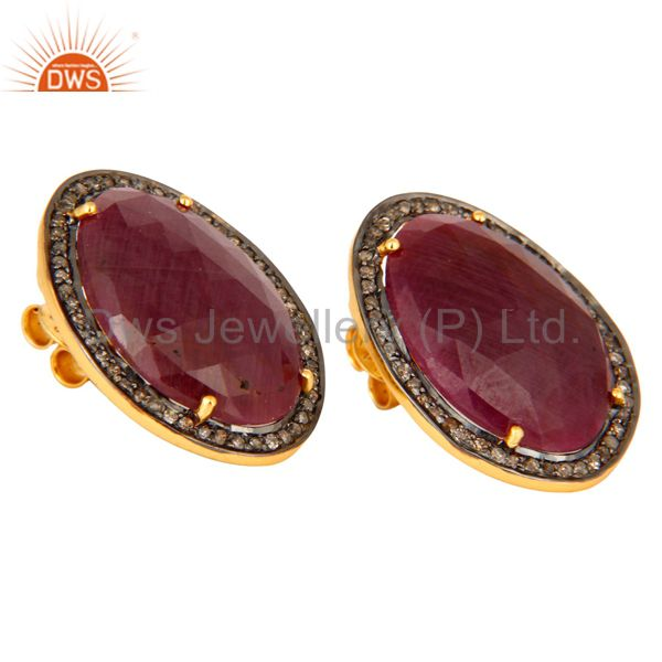 Exporter 18K Gold Plated Sterling Silver Diamond Pave Ruby Vintage Look Stud Earrings