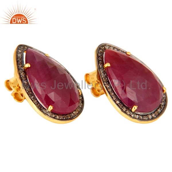 Exporter 18K Yellow Gold Plated 925 Sterling Silver Pear Shape Ruby Diamond Earring Studs