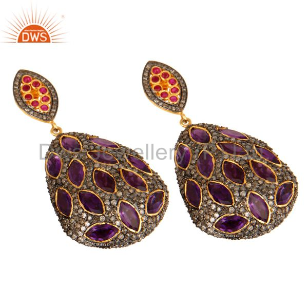 Exporter Pave Diamond Ruby Sterling Silver Amethyst Celebrity Style Dangle Earrings