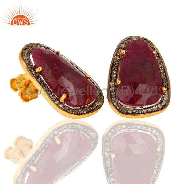 Exporter 925 Sterling Silver Pave Diamond & Ruby Gemstone Antique Look Studs Earrings