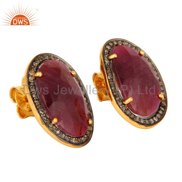 Supplier of Natural Ruby Gemstone 925 Sterling Silver Mens Diamond Cufflinks - Gold Plated