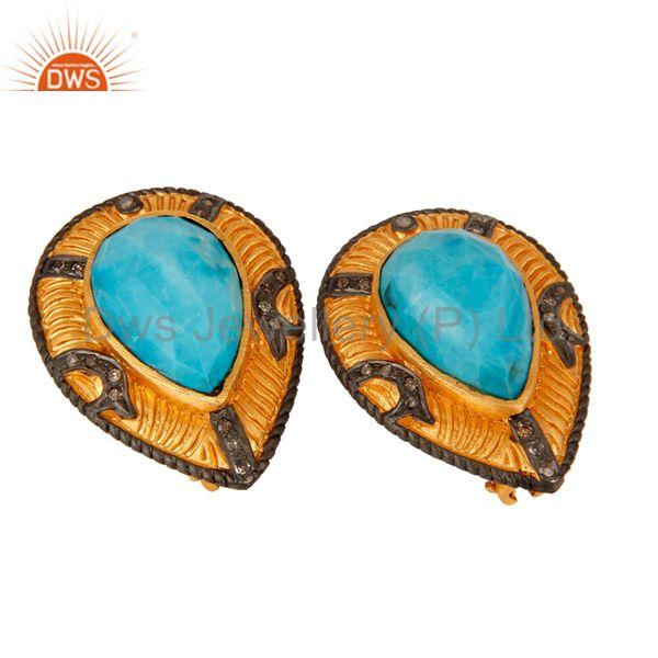 Exporter Turquoise Gemstone 925 Sterling Silver Pave Diamond Stud Earrings - Gold Plated