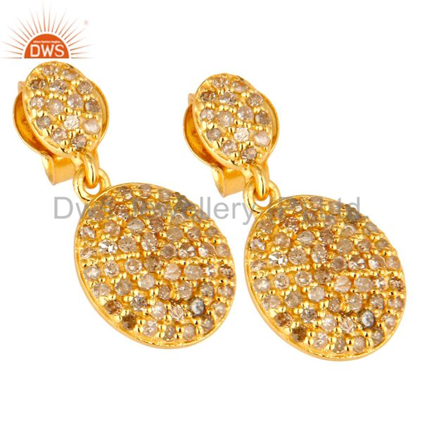 Exporter 14K Yellow Gold Sterling Silver Pave Set Diamond Drop Dangle Earrings