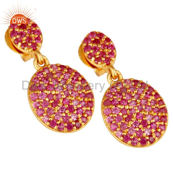 Exporter 14K Yellow Gold Sterling Silver Pave Set Ruby Drop Dangle Earrings