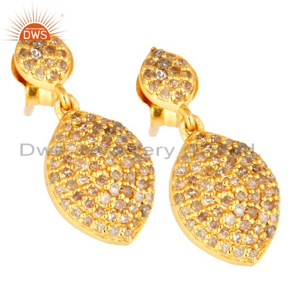 Exporter 18K Yellow Gold Over Sterling Silver Pave Set Diamond Drop Earrings