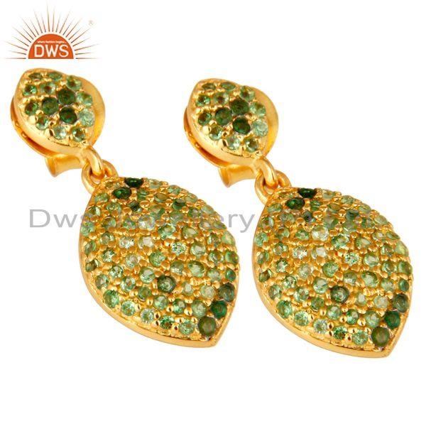 Exporter 14K Yellow Gold Plated Sterling Silver Pave Set Tsavorite Teardrop Earrings