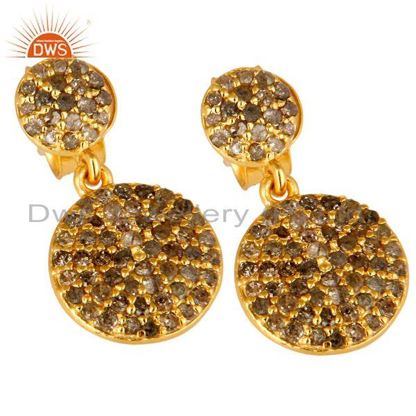 Exporter 14K Yellow Gold Sterling Silver Pave Set Diamond Disc Dangle Earrings