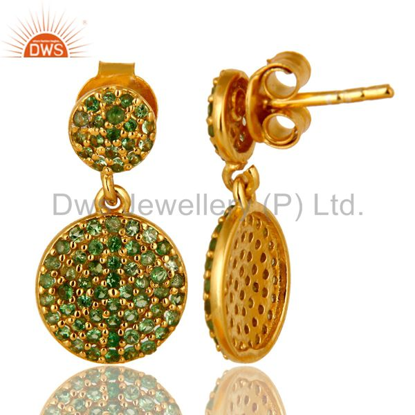 Exporter 14K Yellow Gold Plated Sterling Silver Pave Set Tsavorite Double Dangle Earrings