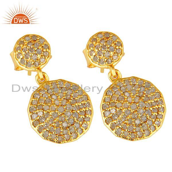 Exporter Pave Set Diamond Disc Dangle Earrings Made In 14K Yellow Gold On Sterling Silver