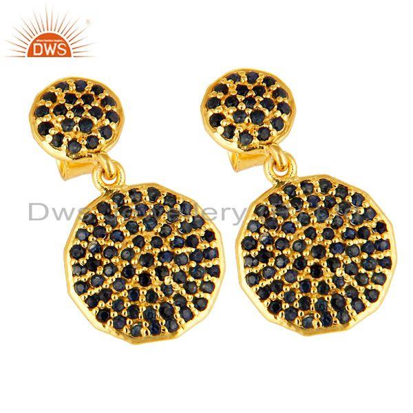 Exporter Pave Set Blue Sapphire Disc Dangle Earrings In 14K Gold Over Sterling Silver