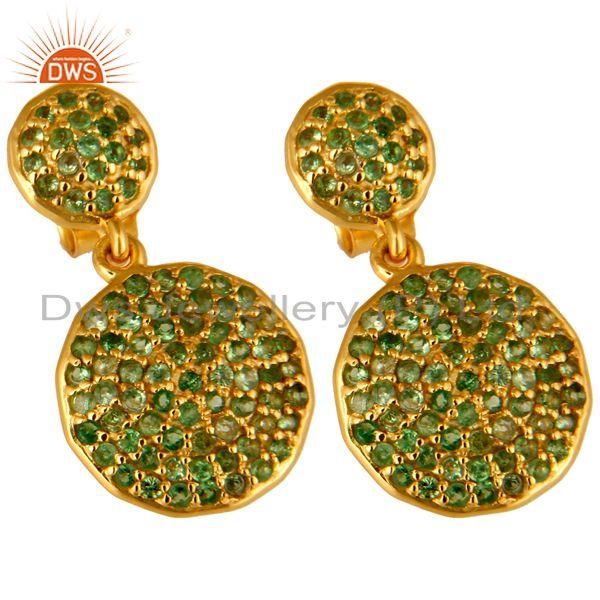 Exporter 14K Yellow Gold And Sterling Silver Pave Set Tsavorite Disc Dangle Earrings
